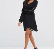 Kleit Amy Lynn Split Sleeve V Neck Shift Dress With Pom Pom Detail