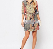 NÜÜD 15€! Kleit AX Paris 3/4 Sleeve Border Print Shirt Dress