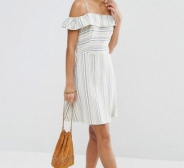 NÜÜD 15! ASOS Cold Shoulder Sundress in Natural Stripe