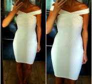 Cream Bardot dress