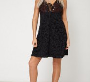 Sleeveless Plunge Dress With Lace And Sequin Details UK 10 EU 38